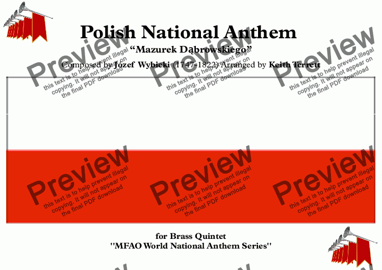 page one of Polish National Anthem for Brass Quintet (MFAO World National Anthem Series)