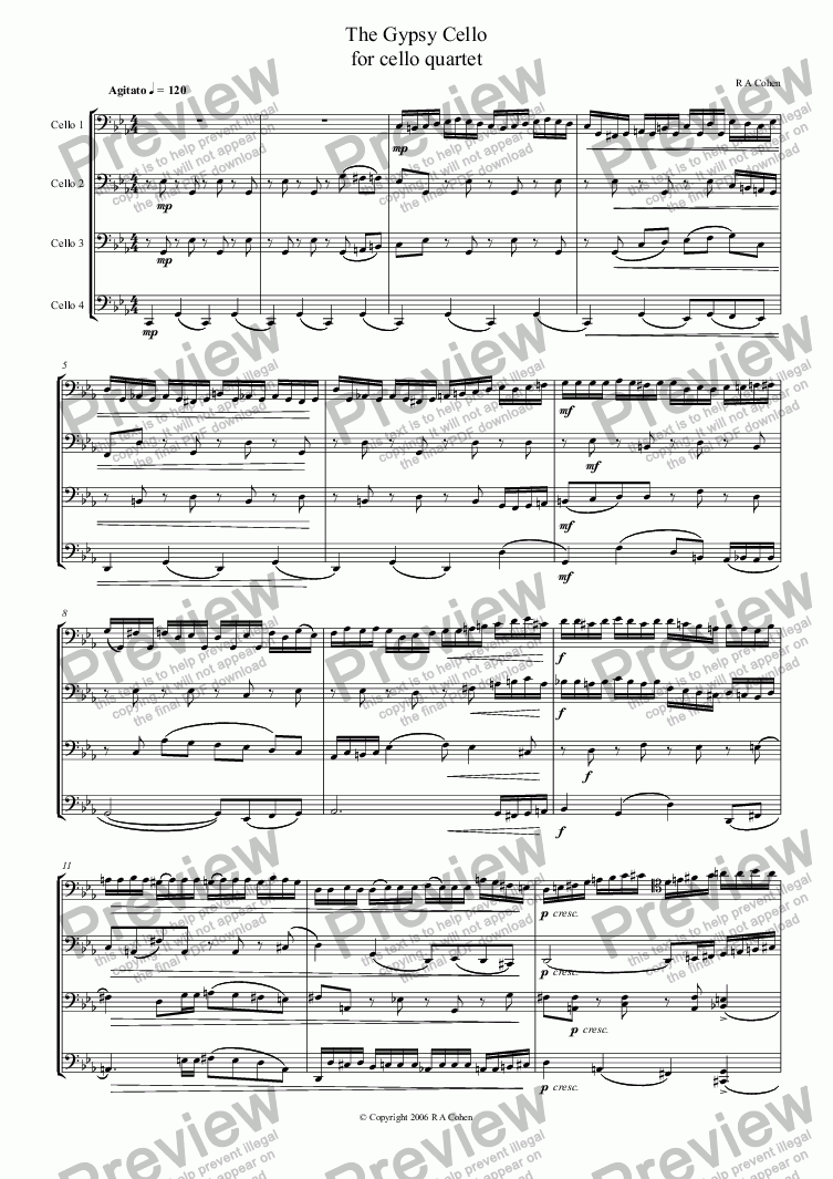 page one of THE GYPSY CELLO - for cello quartet