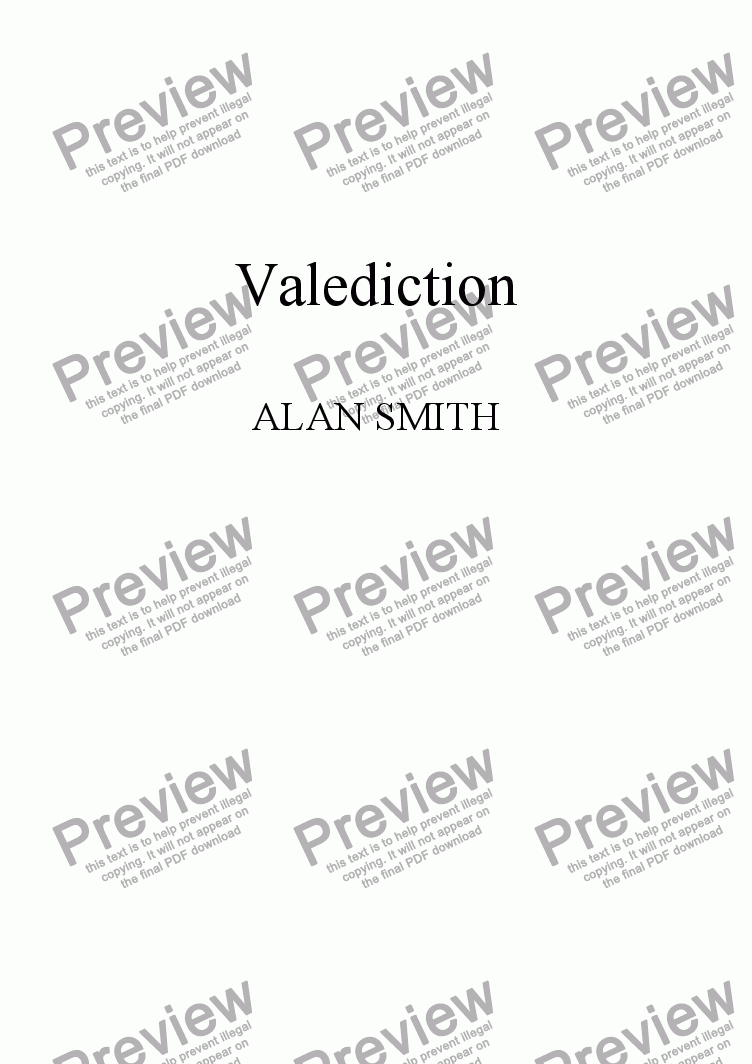 page one of Valediction