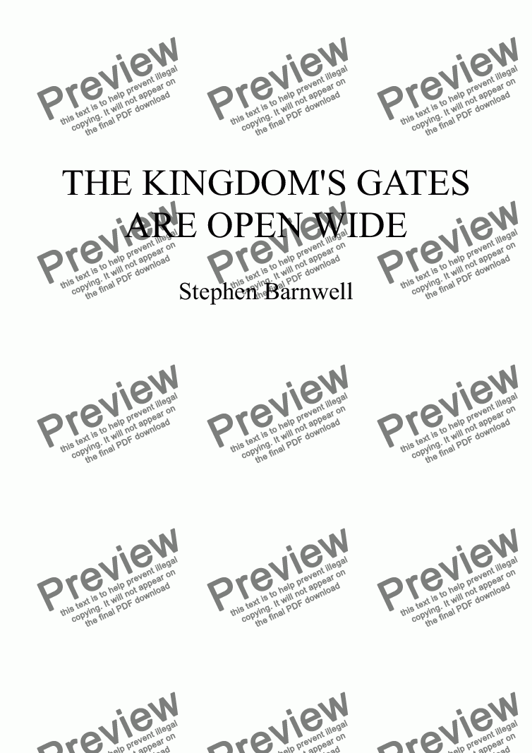 page one of The Kingdom's Gates Are Open Wide