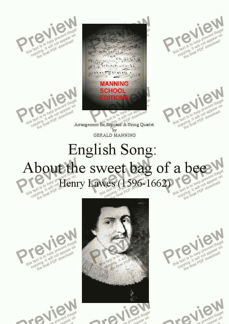 page one of English Song: Lawes, H. - About the sweet bag of a bee - arr. for Soprano & String Quartet by Gerald Manning