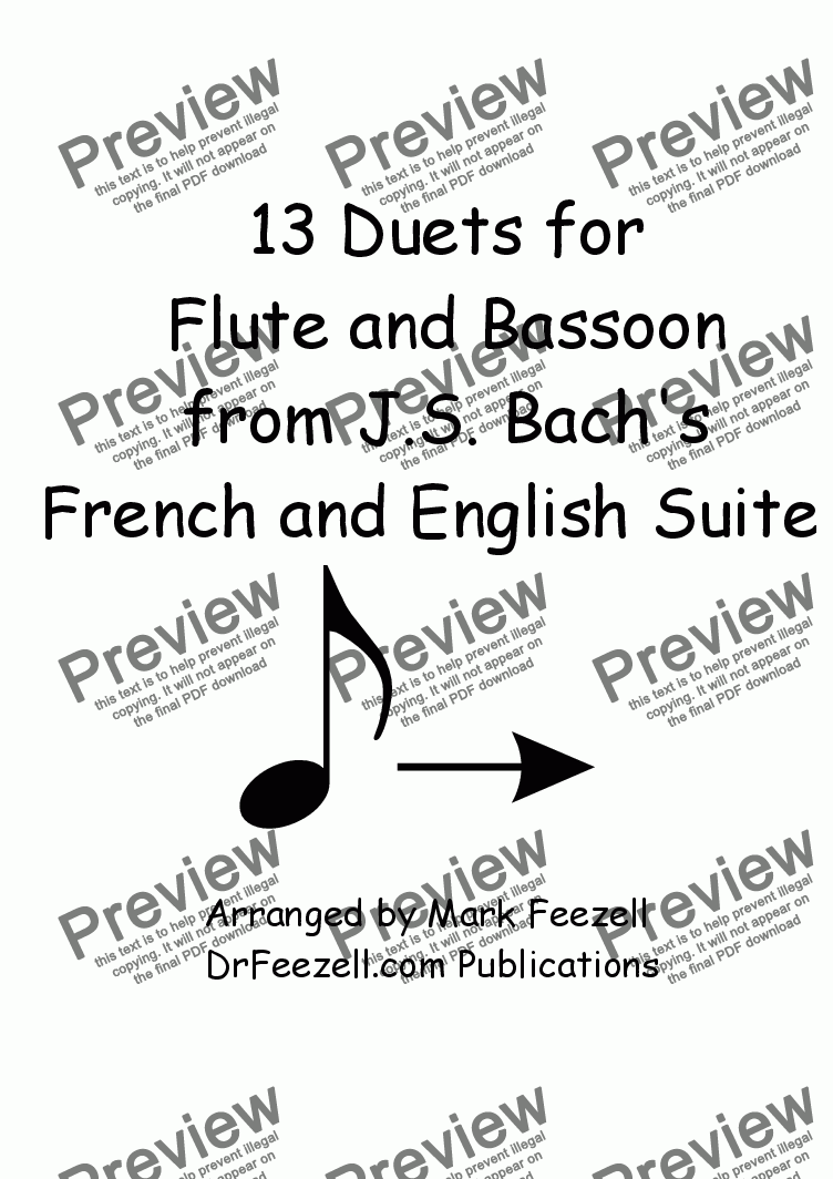 page one of 13 Duets for Flute and Bassoon from Bach's English Suites and French Suites