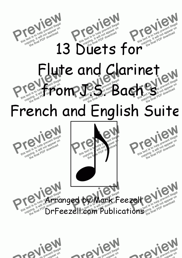 page one of 13 Duets for Flute and Clarinet from Bach's English Suites and French Suites
