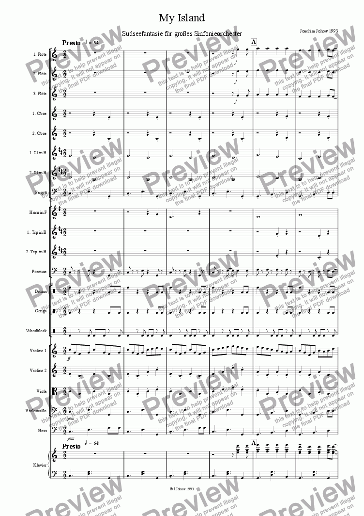 page one of My Island (Orchestra)