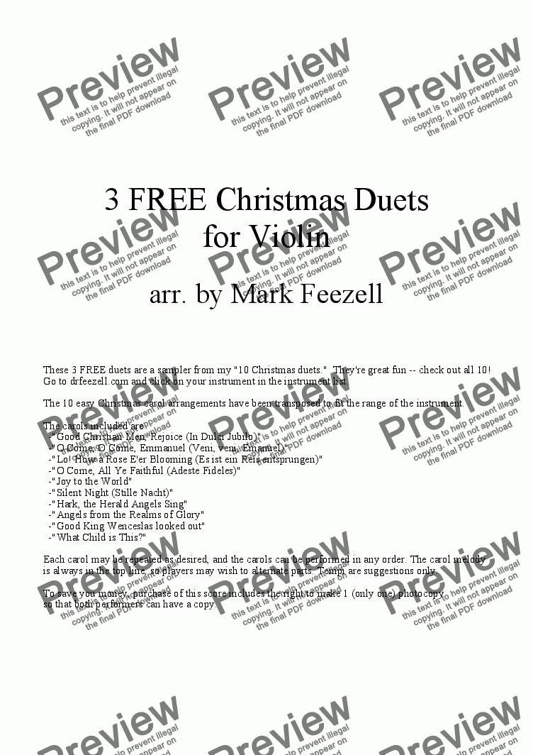 Christmas Violin Duets Pdf.Christmas Music Violin Duets For Duet Of Solo Violins By Trad Sheet Music Pdf File To Download