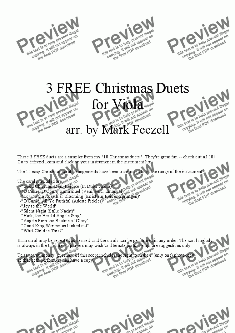 page one of Christmas Music (Viola Duets)