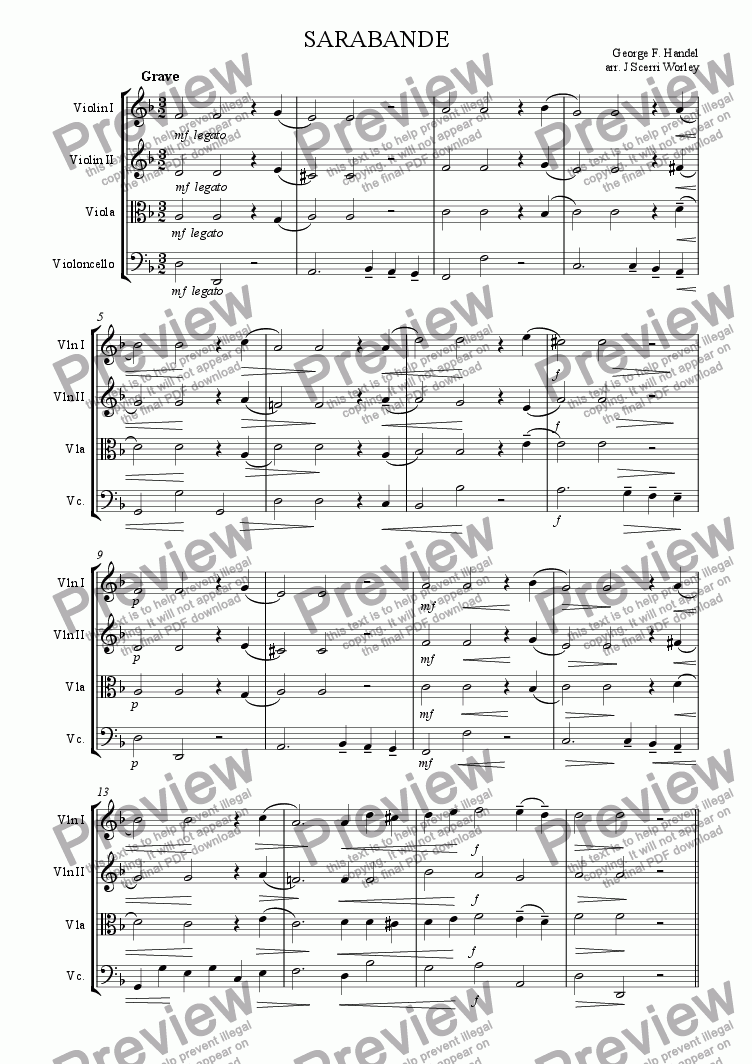 page one of Levies - Sarabande - Handel for string quartet