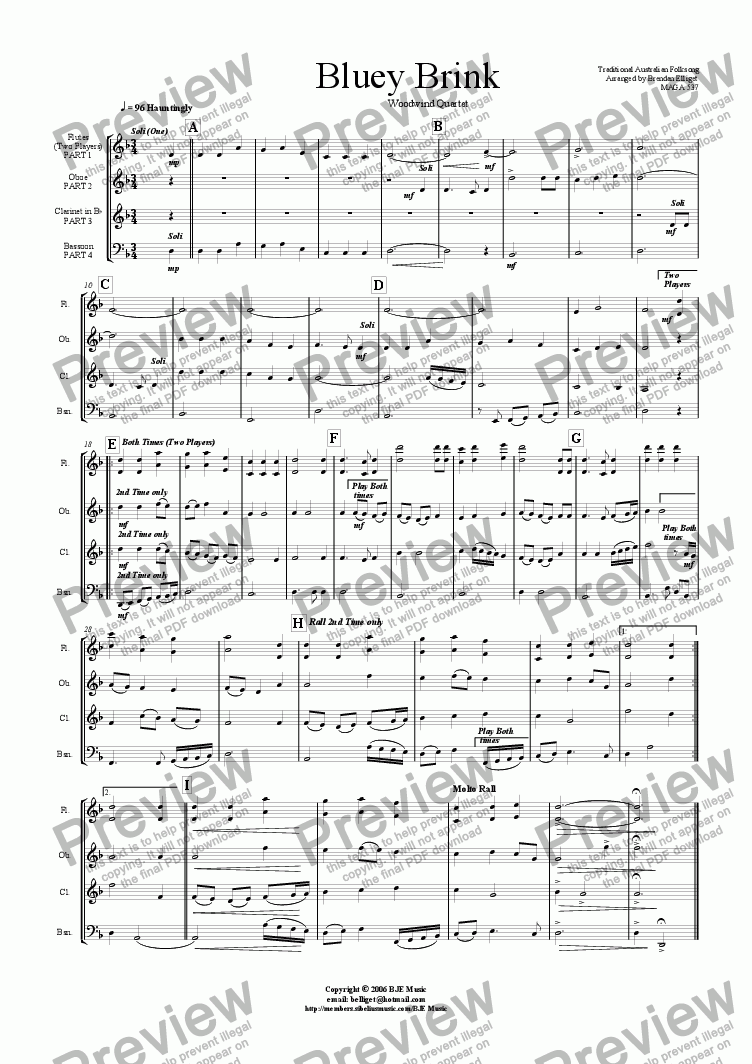 page one of Bluey Brink - Woodwind Quartet