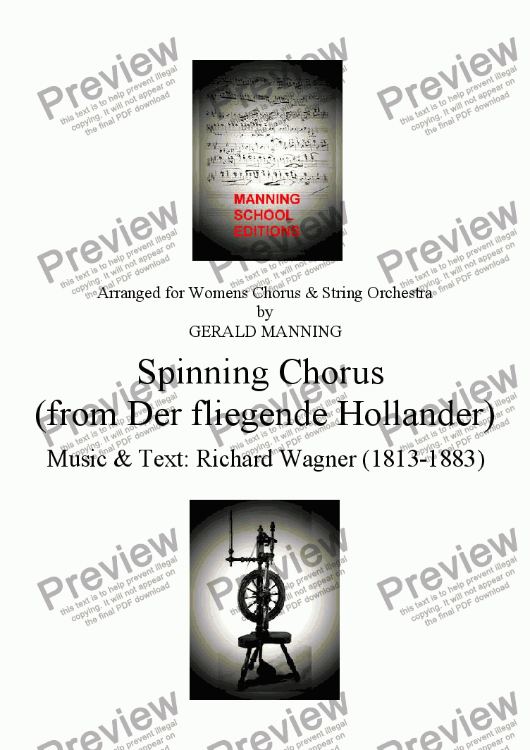 page one of Come To The Opera - Wagner, R.- Spinning Chorus (from Der fliegende Hollander) - arr, for Female Chorus & String Orchestra by Gerald Manning