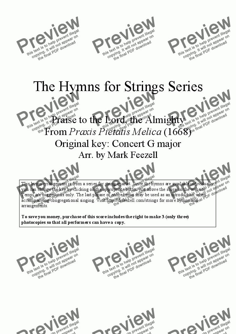 page one of Hymns for Strings: Praise to the Lord, the Almighty from Praxis Pietatis Melica (1668), arr. for String Quartet