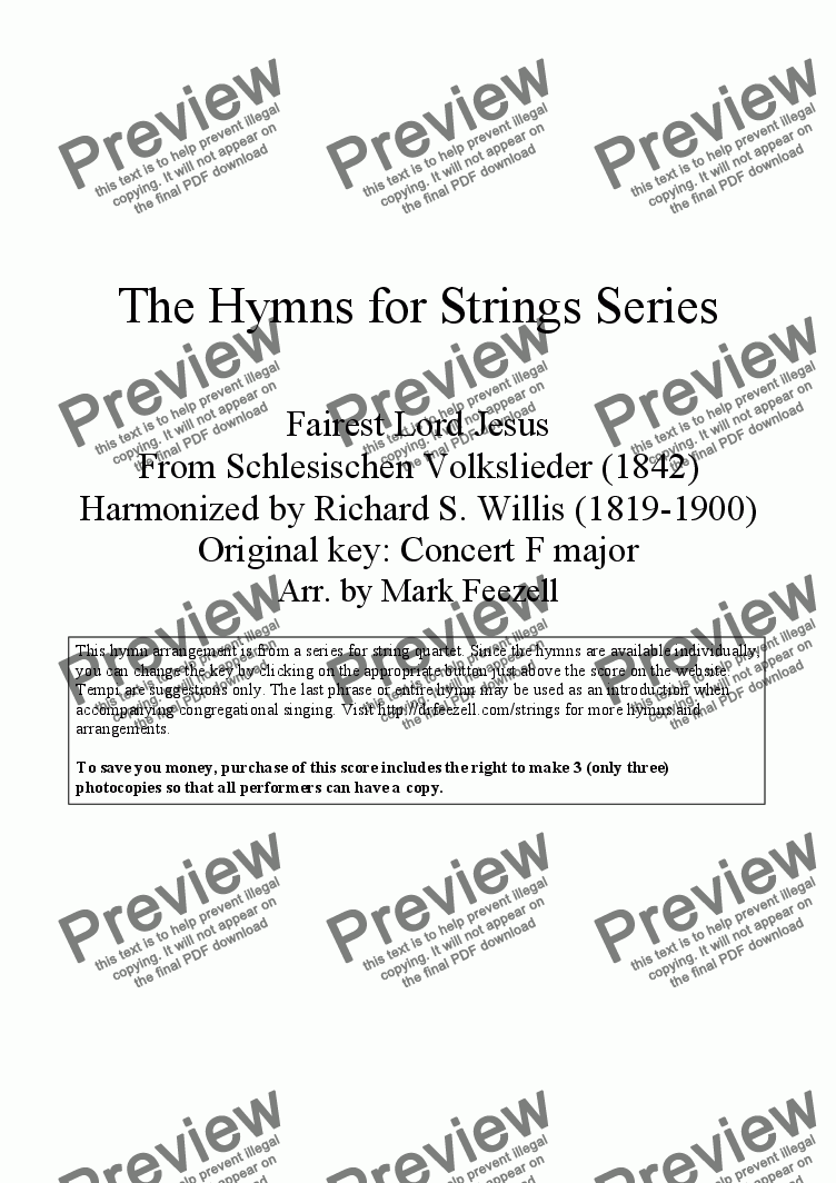 page one of Hymns for Strings: Fairest Lord Jesus by Richard S. Willis, arr. for String Quartet