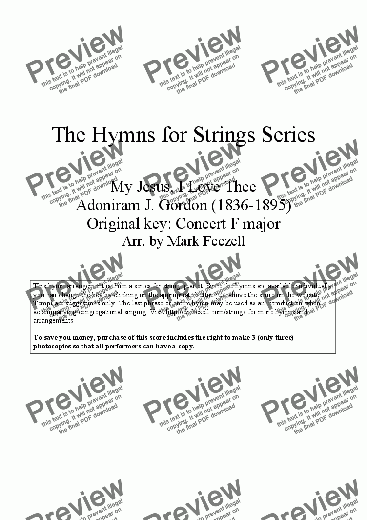 page one of Hymns for Strings: My Jesus, I love Thee by Adoniram J. Gordon, arr. for String Quartet