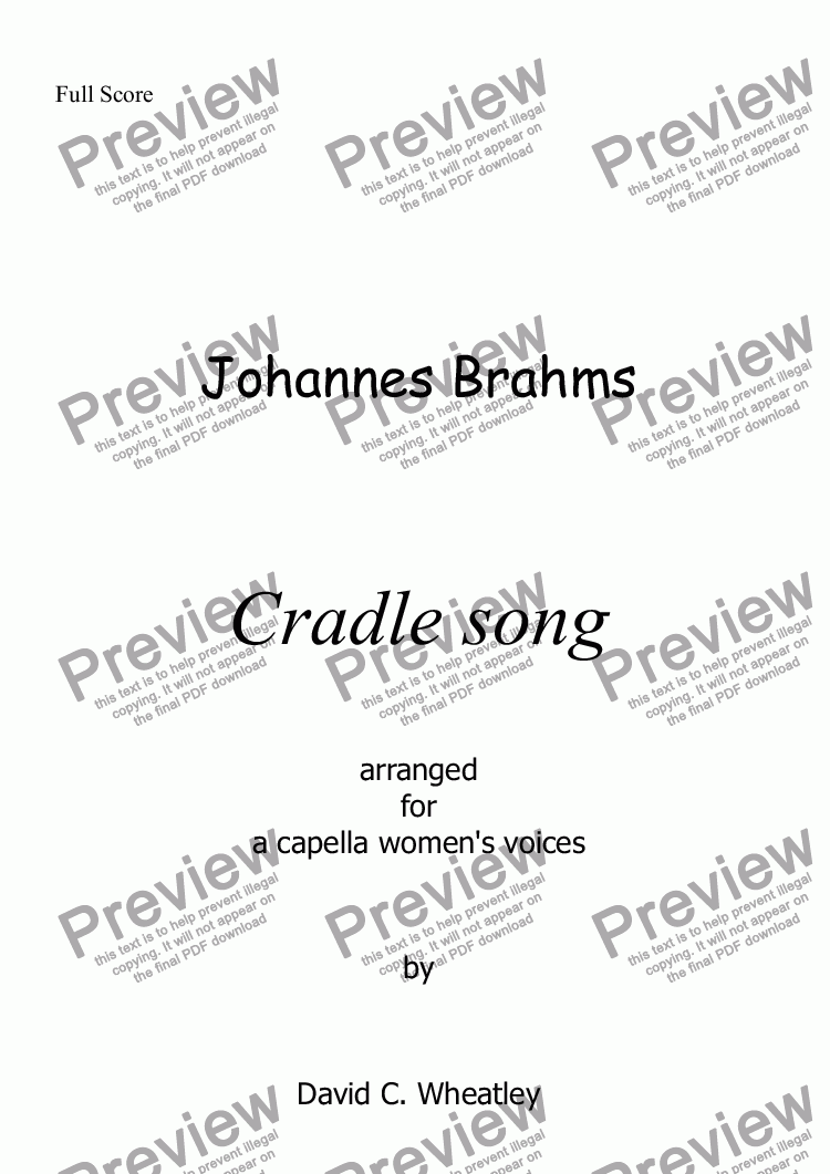 page one of Brahms - Cradle Song for womens voices (SSSAA) a capella