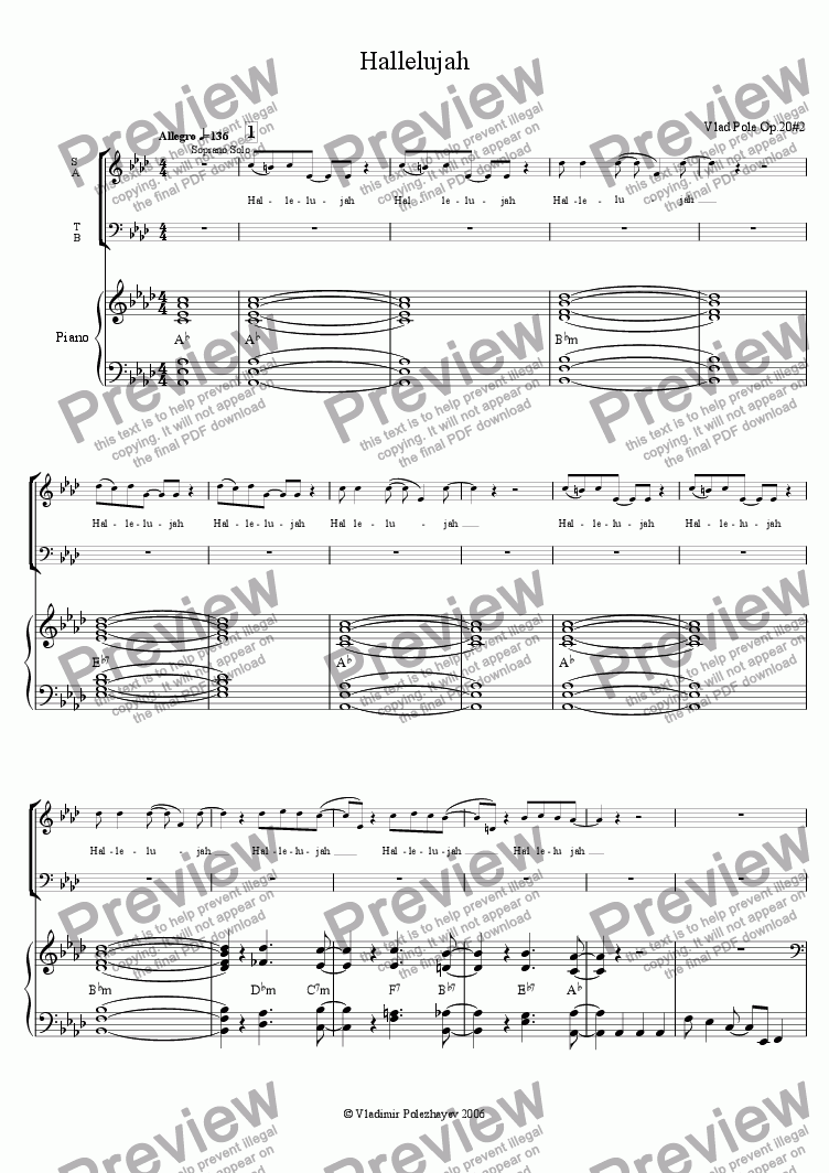 page one of Hallelujah