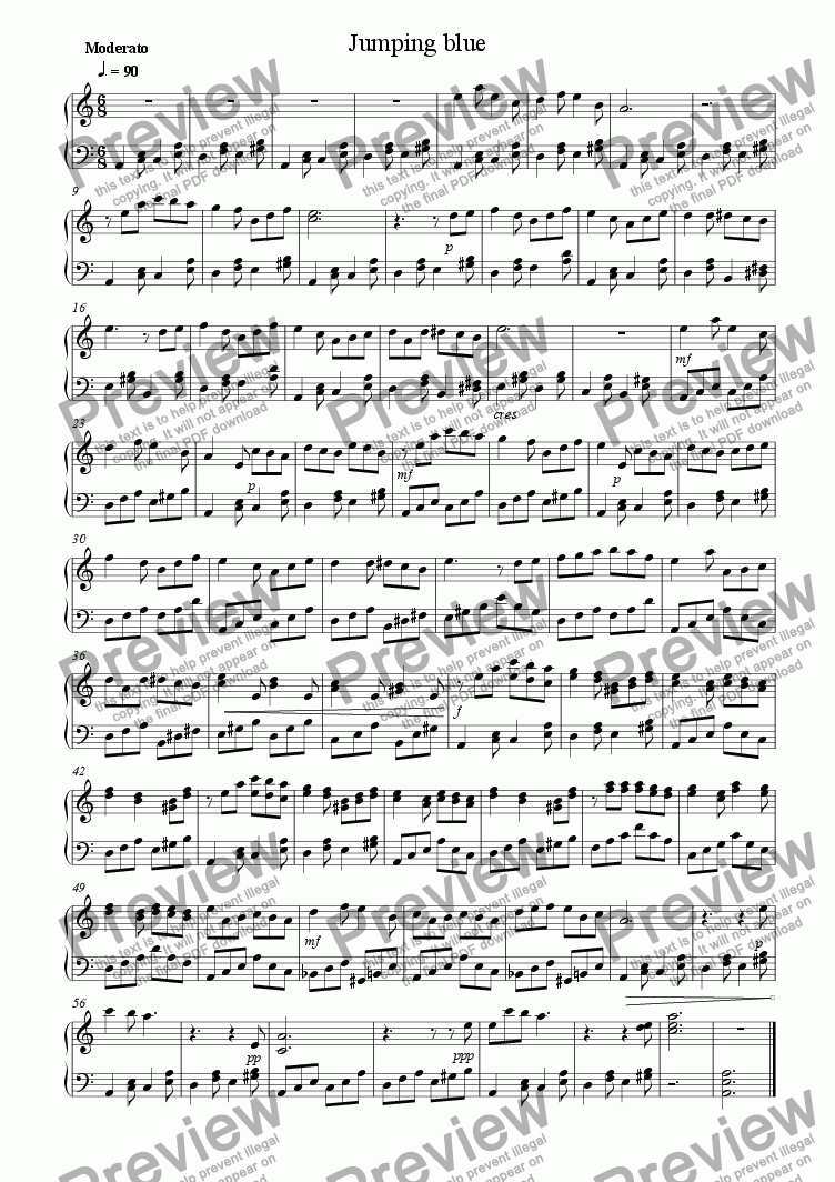 page one of Piano Book 010 (Jumping Blue)