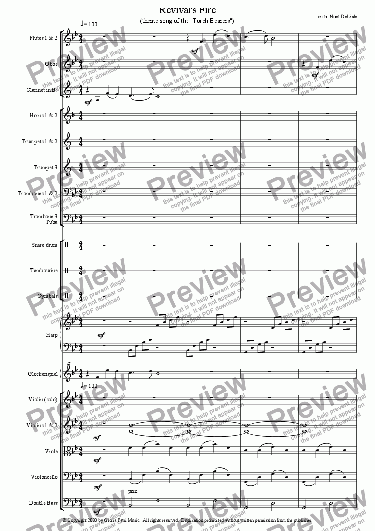 page one of Revival's Fire (orchestral score)