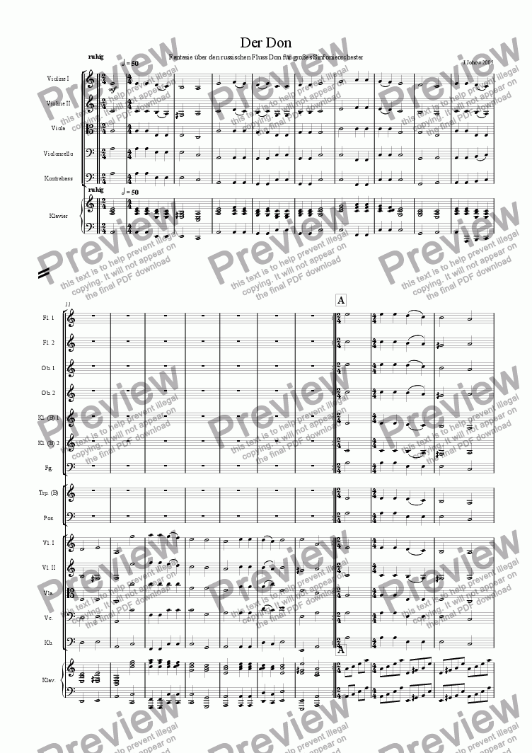 page one of Der Don (Russische Fantasie f�r Orchester)