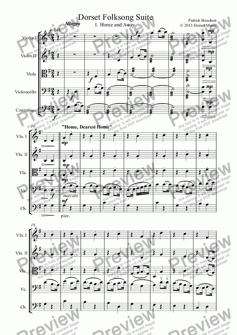 page one of Dorset Folksong Suite for Strings 1. Home and Away