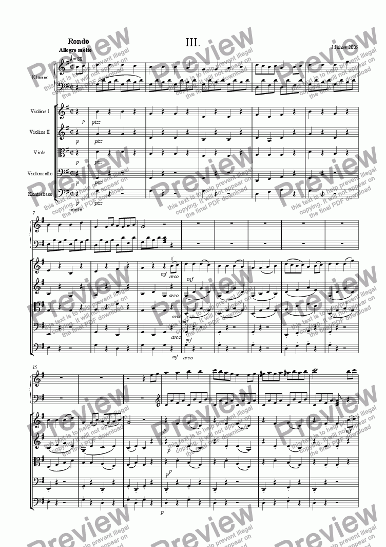 page one of Piano Concert G-Major 3. Rondo Allegro Strings