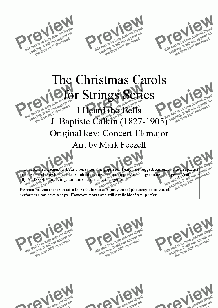 page one of - I Heard the Bells on Christmas Day (String Quartet)