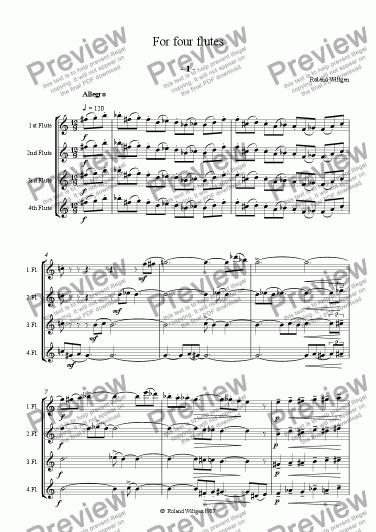 page one of For four flutes  Part I