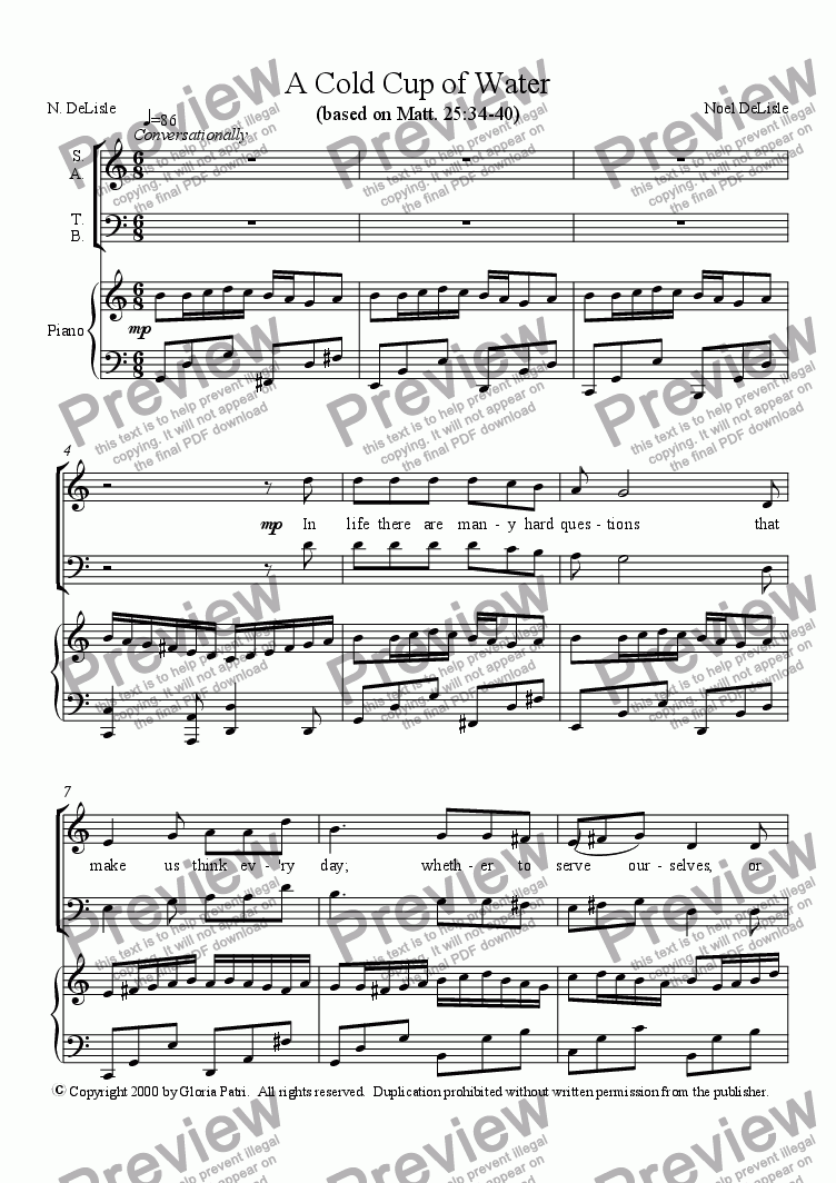 page one of A Cold Cup of Water (SATB)