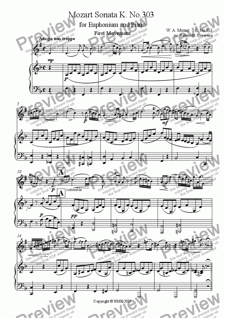 page one of Mozart Sonata K. 303 for Euphonium and Piano
