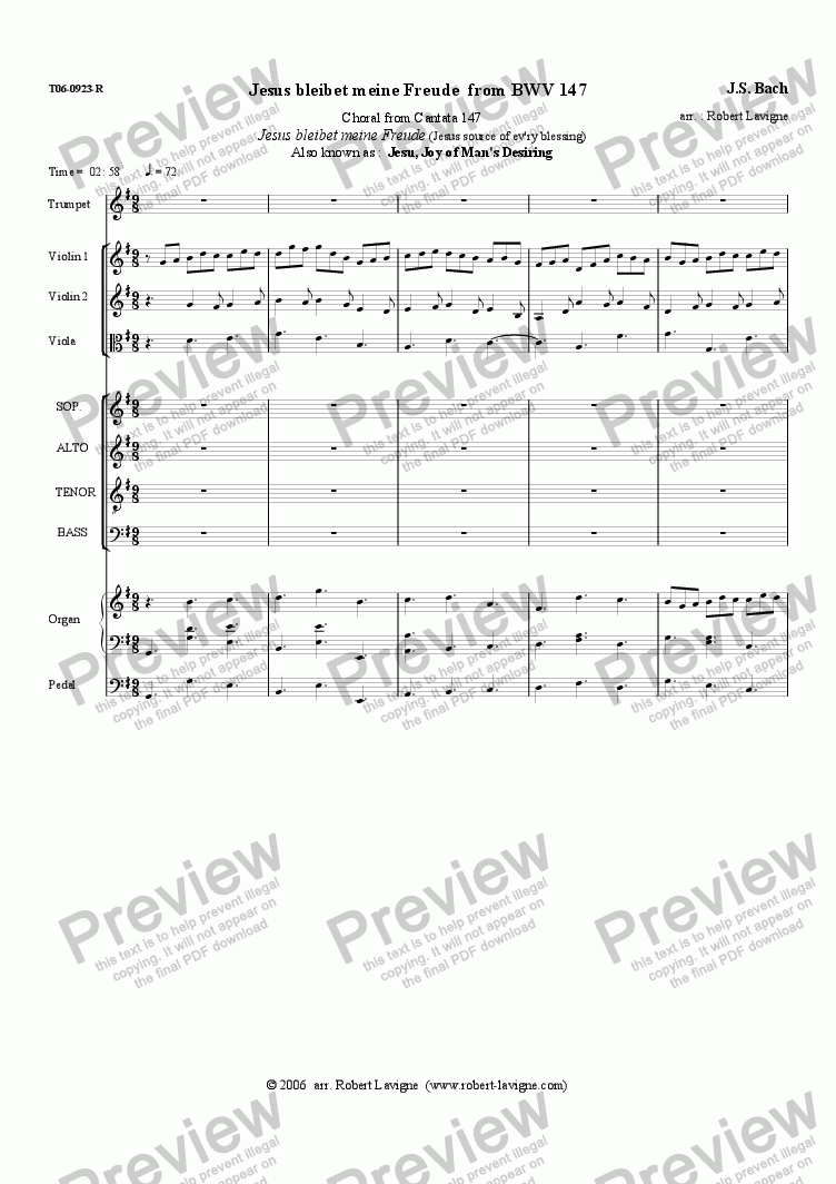 page one of BWV147 Jesus bleibet meine Freude (mix.ens.)