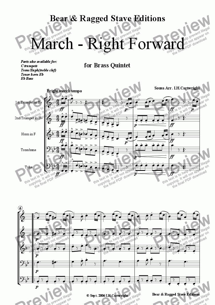 page one of March - Right Forward for brass quintet