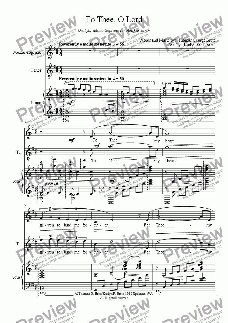 page one of To Thee, O Lord, (Duo version)