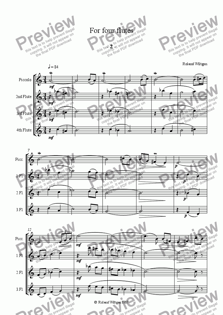 page one of For four flutes  Part II