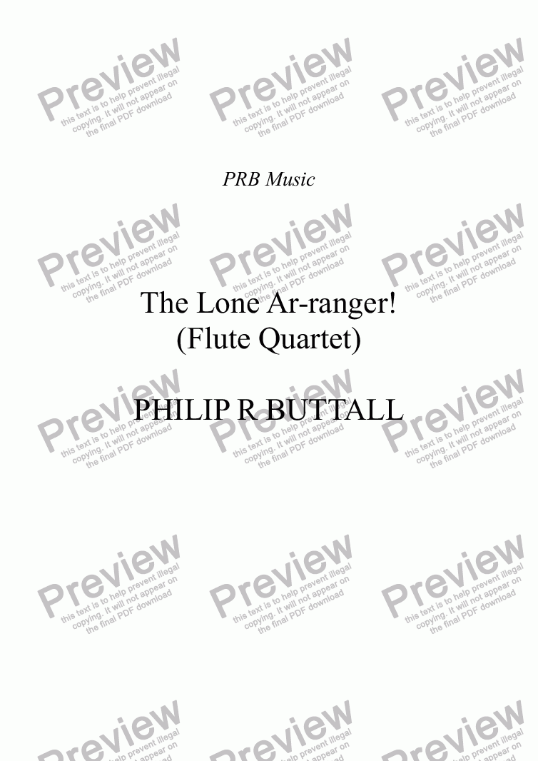 page one of The Lone Ar-ranger! (Flute Quartet)