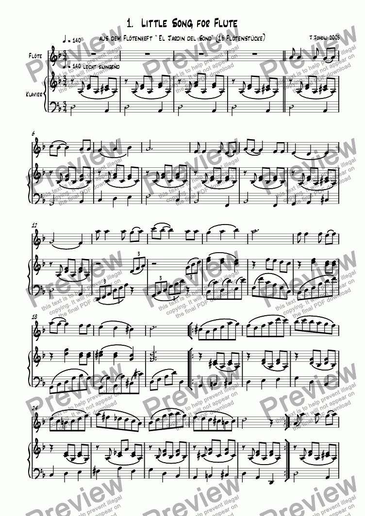page one of Flute book 01  (Little song for flute)ASALTTEXT