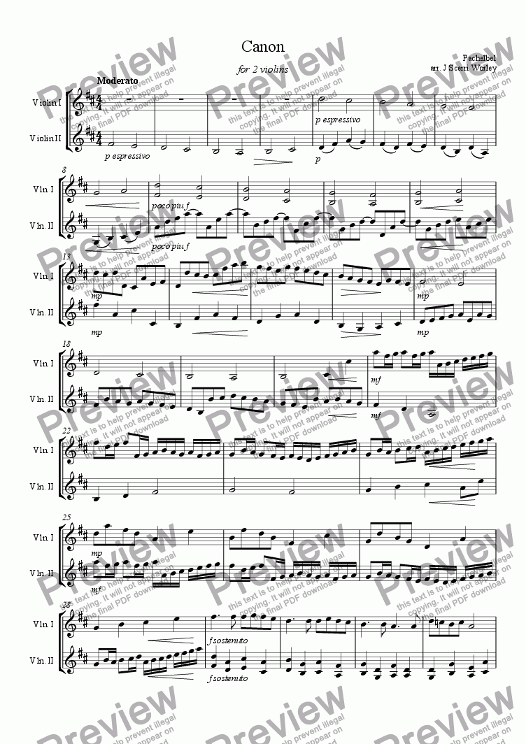 Violin Duet Canon In D For 2 Violins For Duet Of Solo Violins By Pachelbel Sheet Music Pdf File To Download