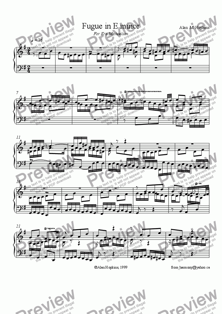 page one of Fugue in E Minor