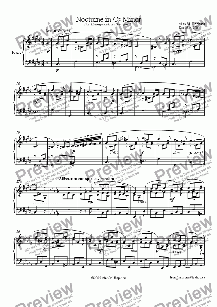 page one of Nocturne in C# Minor