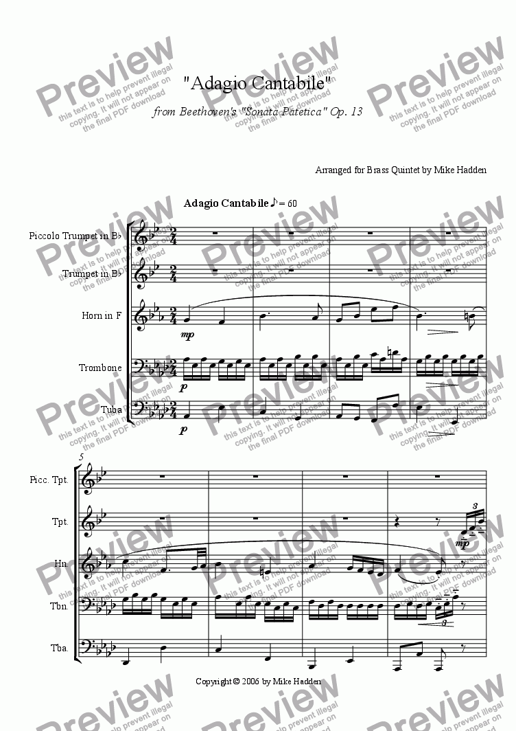 page one of Adagio Cantabile