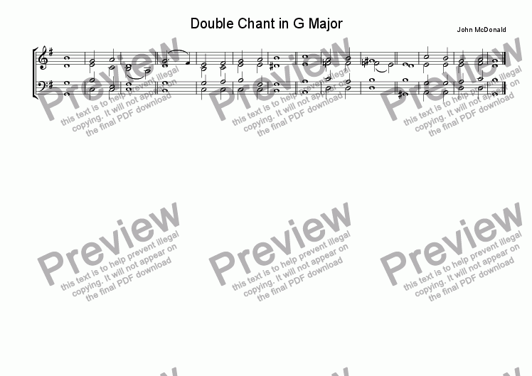 page one of Double Chant in G Major