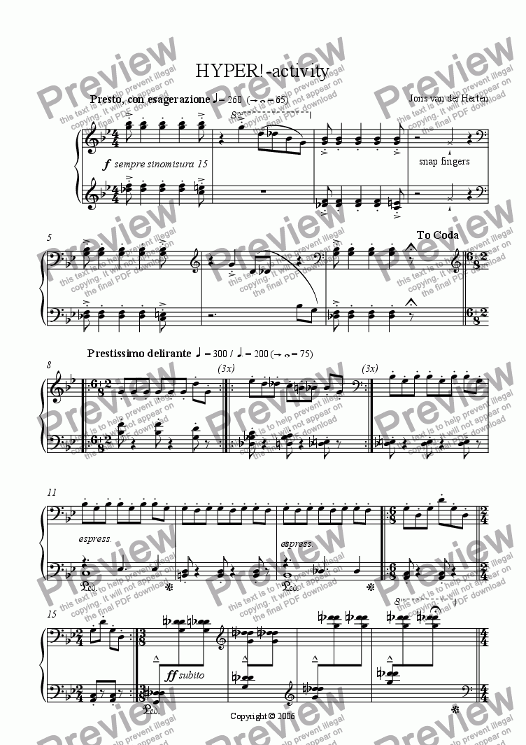 page one of HYPER!-activity (juvenilia, piano)