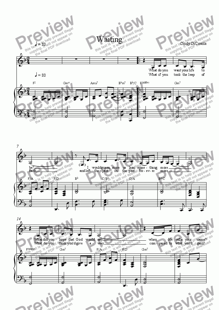 page one of Waiting- Solo w/piano or guitar