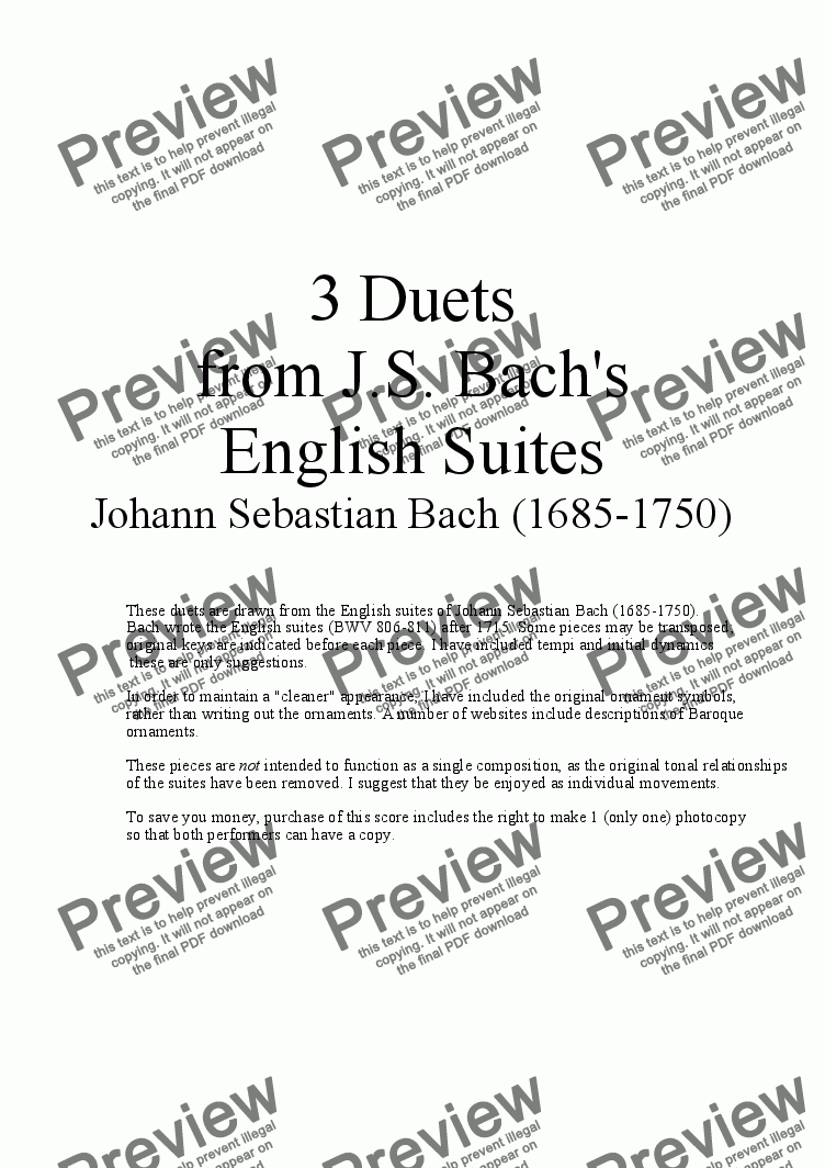 page one of 3 Duets for Cello from Bach's English Suites