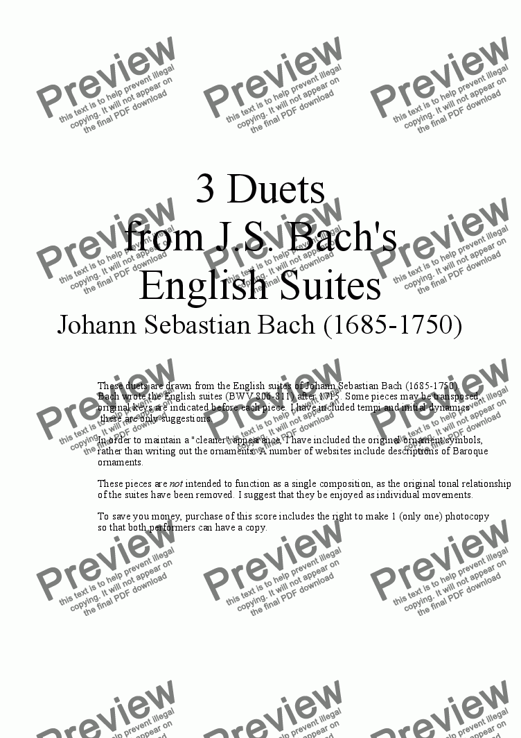 page one of 3 Duets for Alto Saxophone from Bach's English Suites