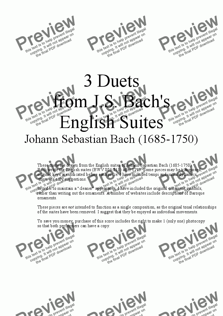 page one of 3 Duets for Clarinet from Bach's English Suites