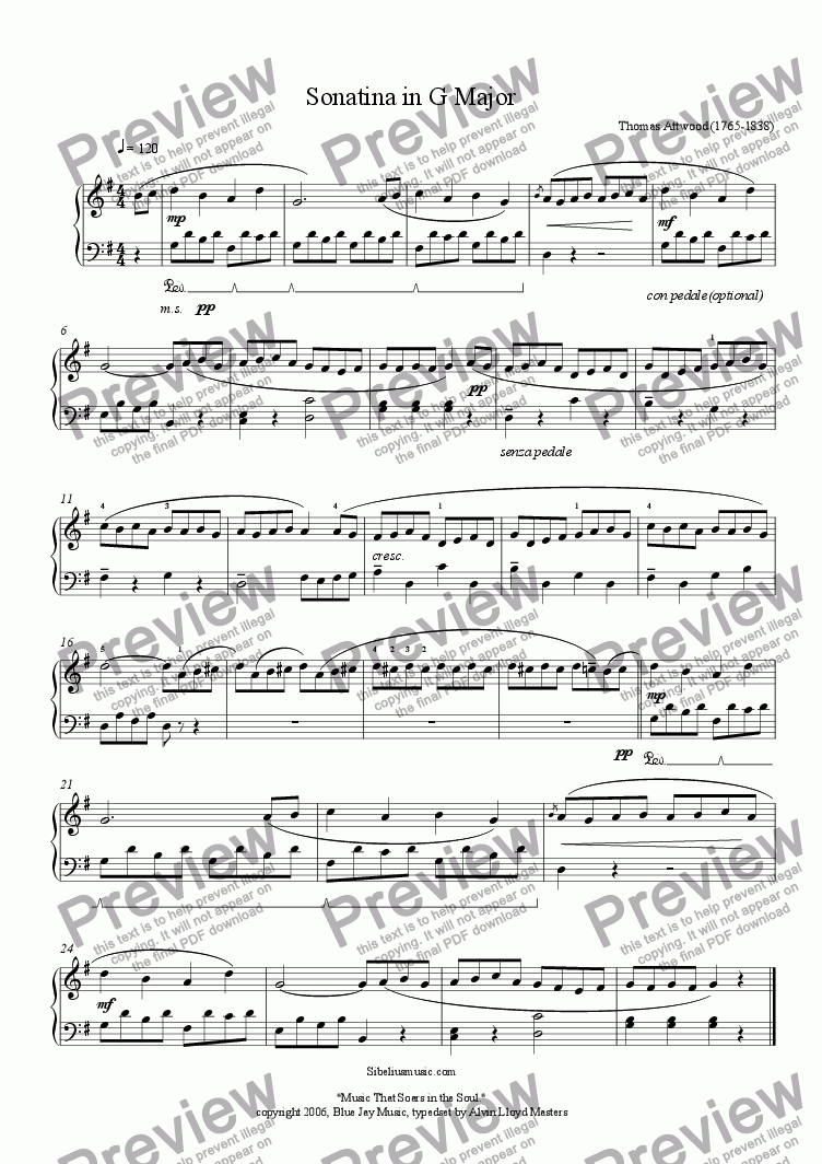 page one of Attwood's, Sonatina in G Major