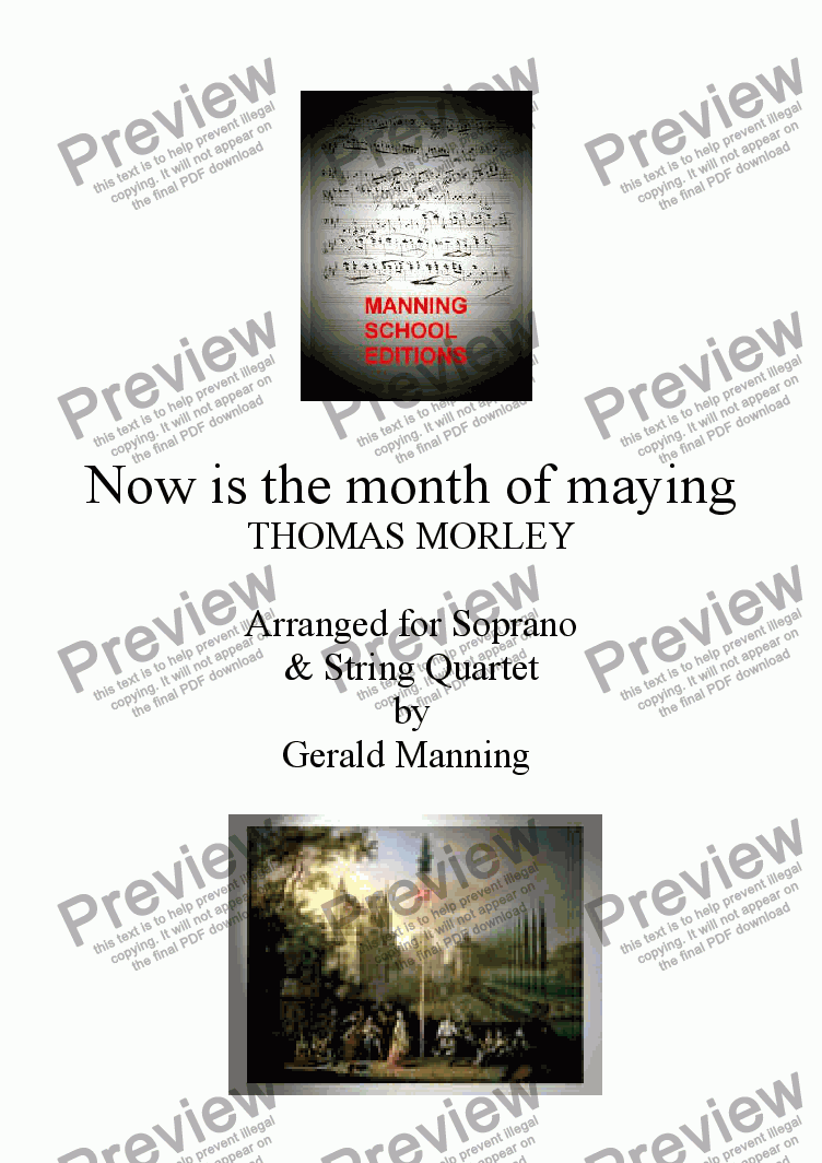 page one of English Song: Morley, T. - Now is the month of maying - arr. for Soprano & String Quartet by Gerald Manning