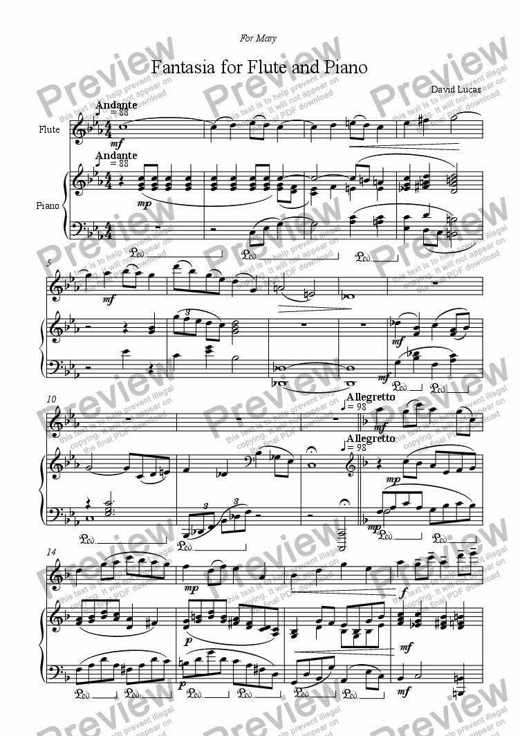 page one of Fantasia for Flute and Piano