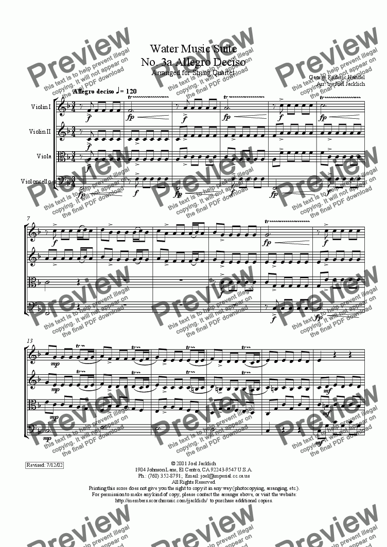 page one of Water Music Suite, No. 3a, Allegro Deciso (F)