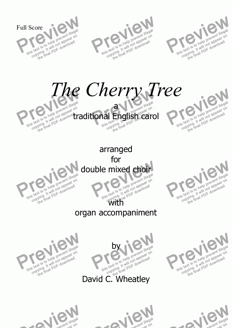 page one of Cherry tree carol (mixed double choir) with organ accompaniment by David Wheatley