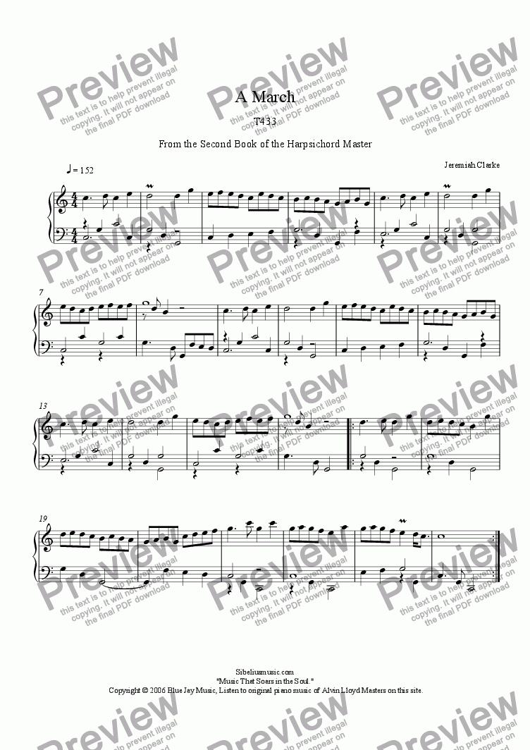 page one of 1700 Clarke A March from the 2nd Book of the Harpsichord Master