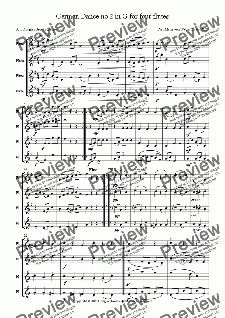 page one of Weber: German Dance no 2 in G for four flutes